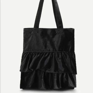 Handbags - Velvet Ruffle Tote